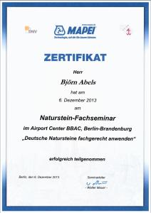 Zertifikat Deutsche Natursteine fachgerecht anwenden