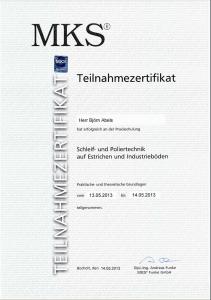 Zertifikat Schleif- und Poliertechnik auf Estrichen und Industrieböden