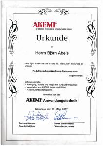 Zertifikat Produktschulung / Workshop Steinprogramm